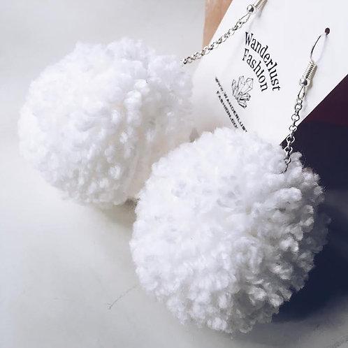 Wedding White Pom Earrings