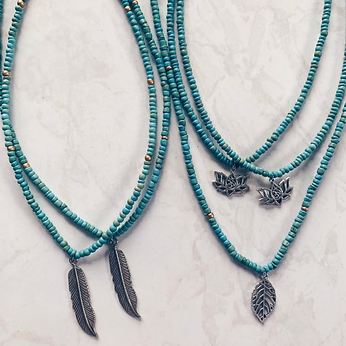 Seed Bead Charm Necklace