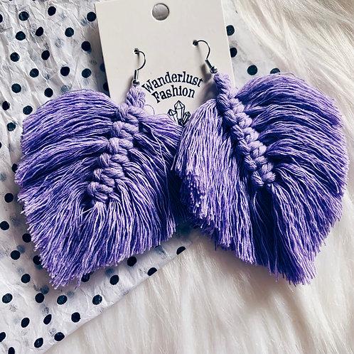 Lavender Macrame Feather Earrings