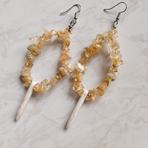 Crystal Teardrop Earrings - Citrine
