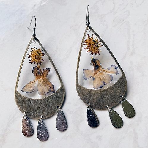 Blue Blossom Dandelion Resin Earrings