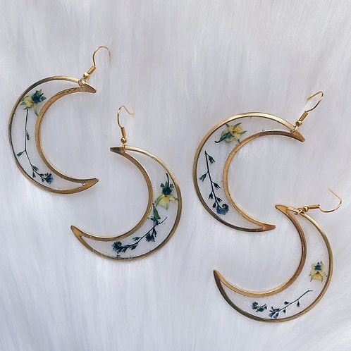 Mixed Flower Crescent Moon Resin Earrings