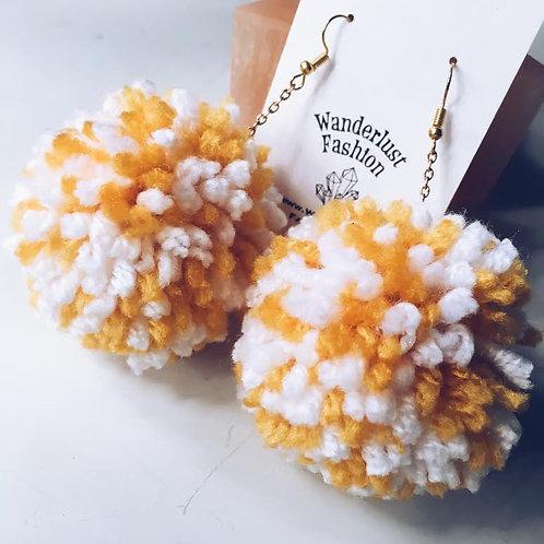 Daisy Field Pom Earrings