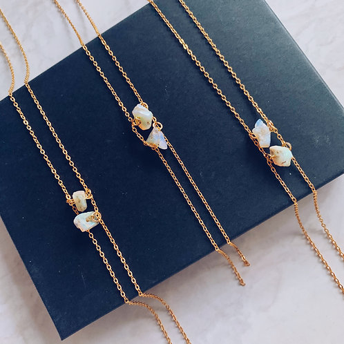 Opal Alignment Necklace - Gold