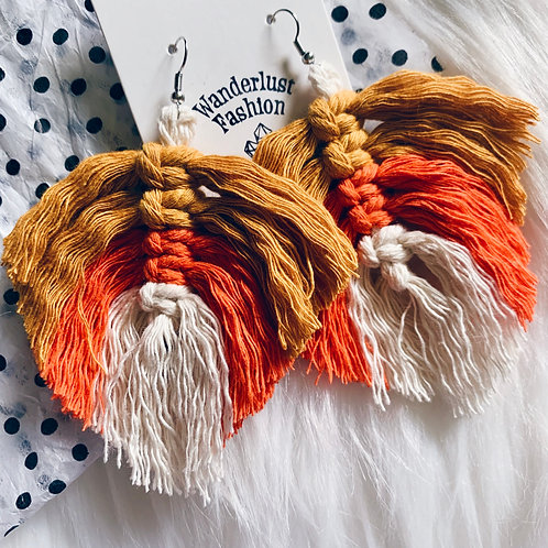 Candy Corn Macrame Earrings