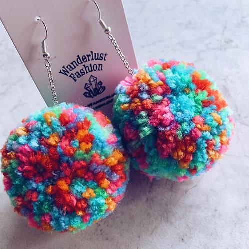Rainbow Pride Pom Earrings