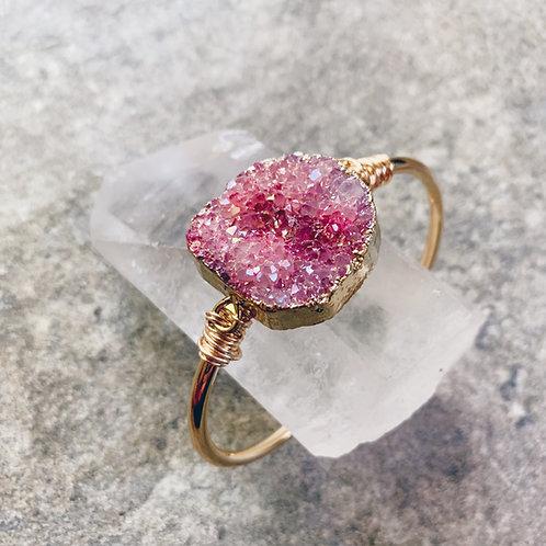 Pink Druzy Crystal Cuff
