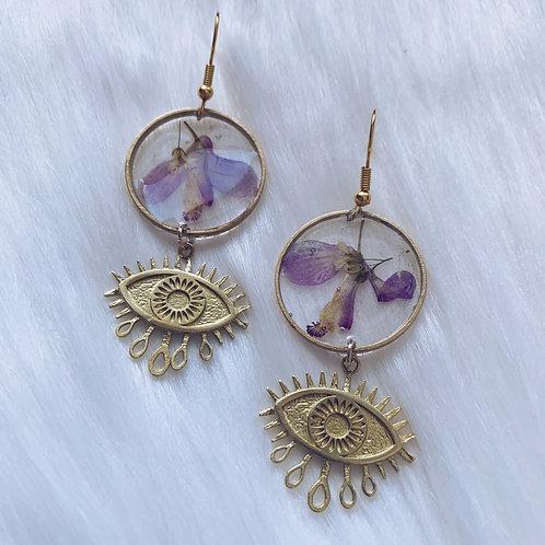 Purple Flower Evil Eye Resin Earrings