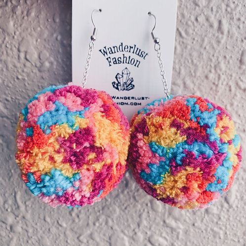 Tie Dye Pom Pom Earrings