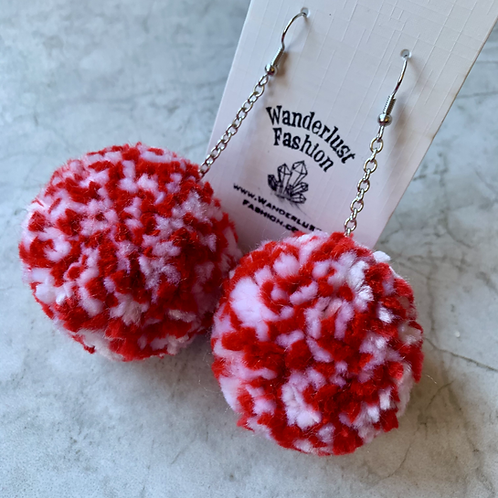 Cracked Candy Cane Pom Pom Earrings