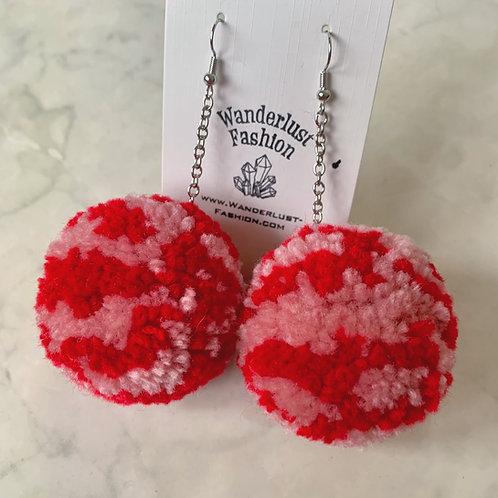 Red Rose Pink Swirl Pom Pom Earrings