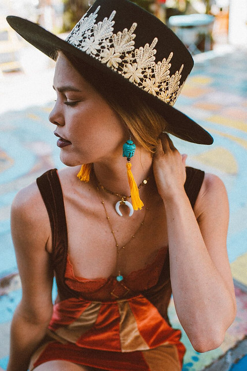 Buddha Tassel Earrings - Mustard