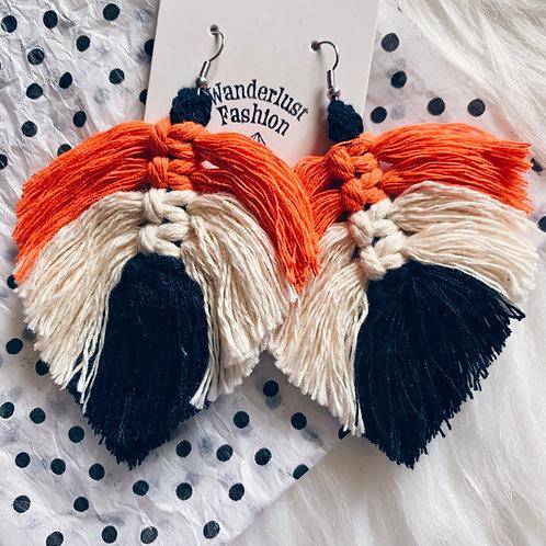 Spooky Macrame Feather Earrings