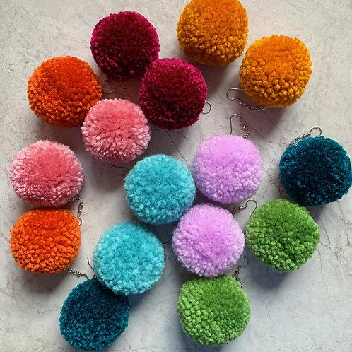 Fall Color Pom Pom Earrings
