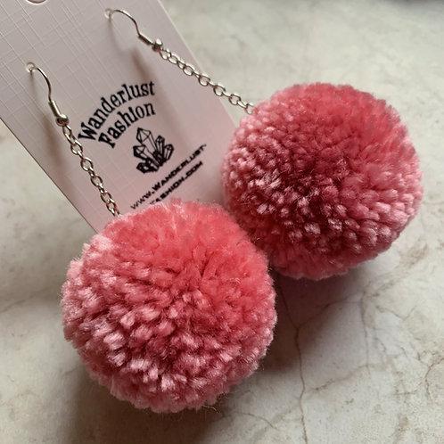 Rose Pink Pom Pom Earrings