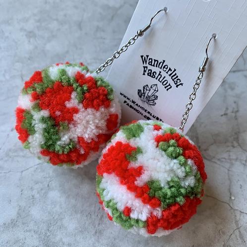 Vintage Christmas Pom Pom Earrings