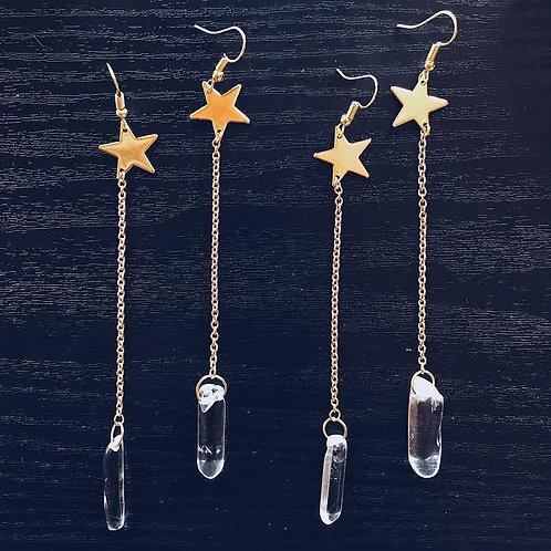 Star Drop Crystal Earrings
