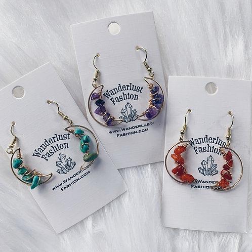 Mini Moon Gemstone Earrings - Gold