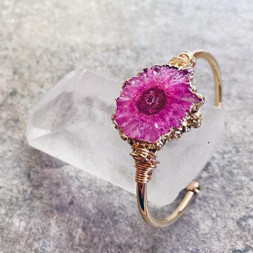 Pink Geode Crystal Cuff