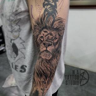Realistic Lion-tattoo-by abhishek @natattoostudio new delhi