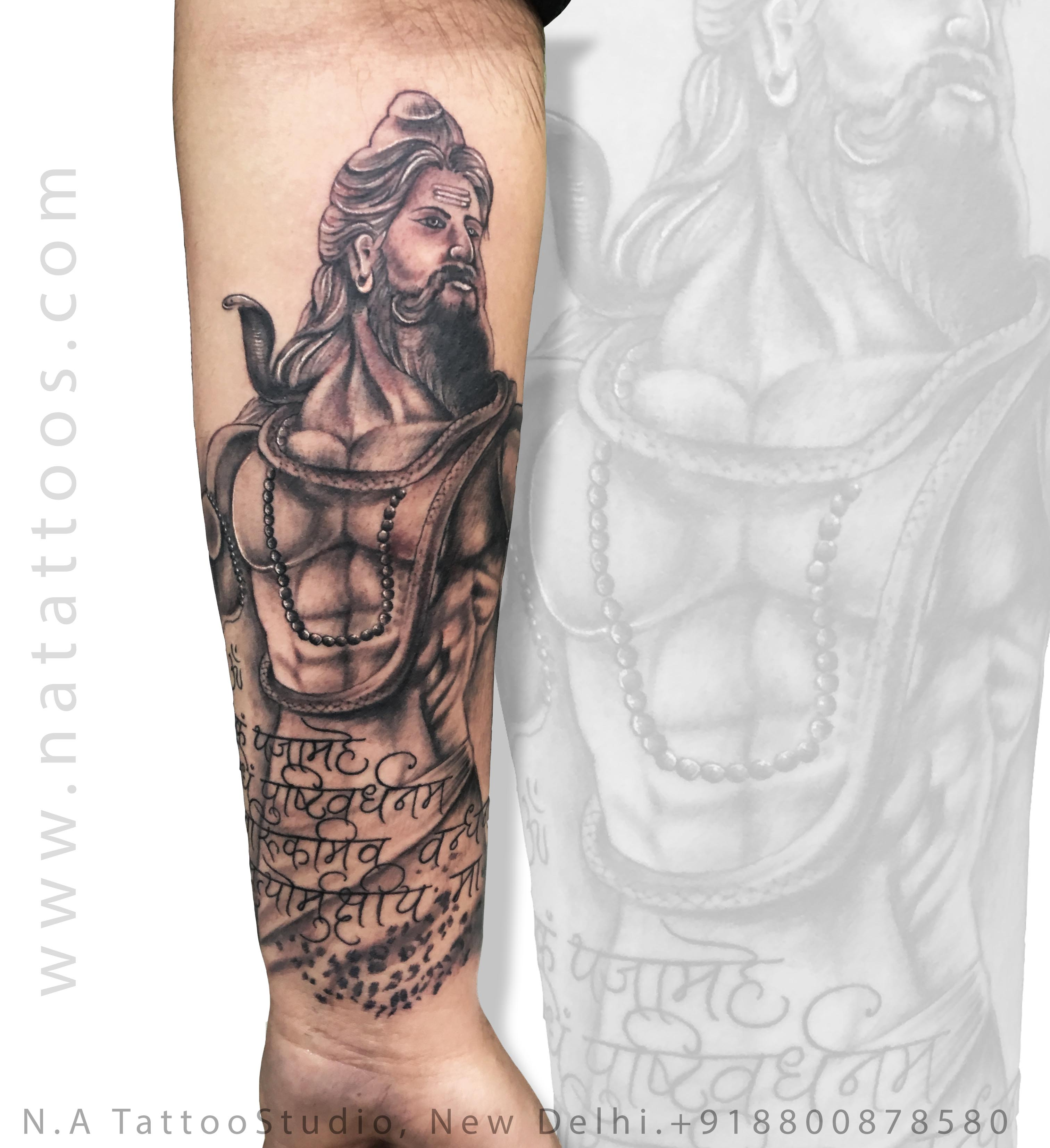 Muscular Shiva with Mantra
