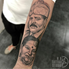 father mother portrait tattoo abhishek.j