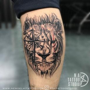 Compass Lion tattoo by megha