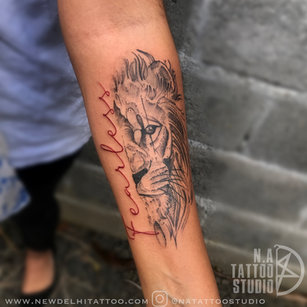 fearless lion tattoo by megha