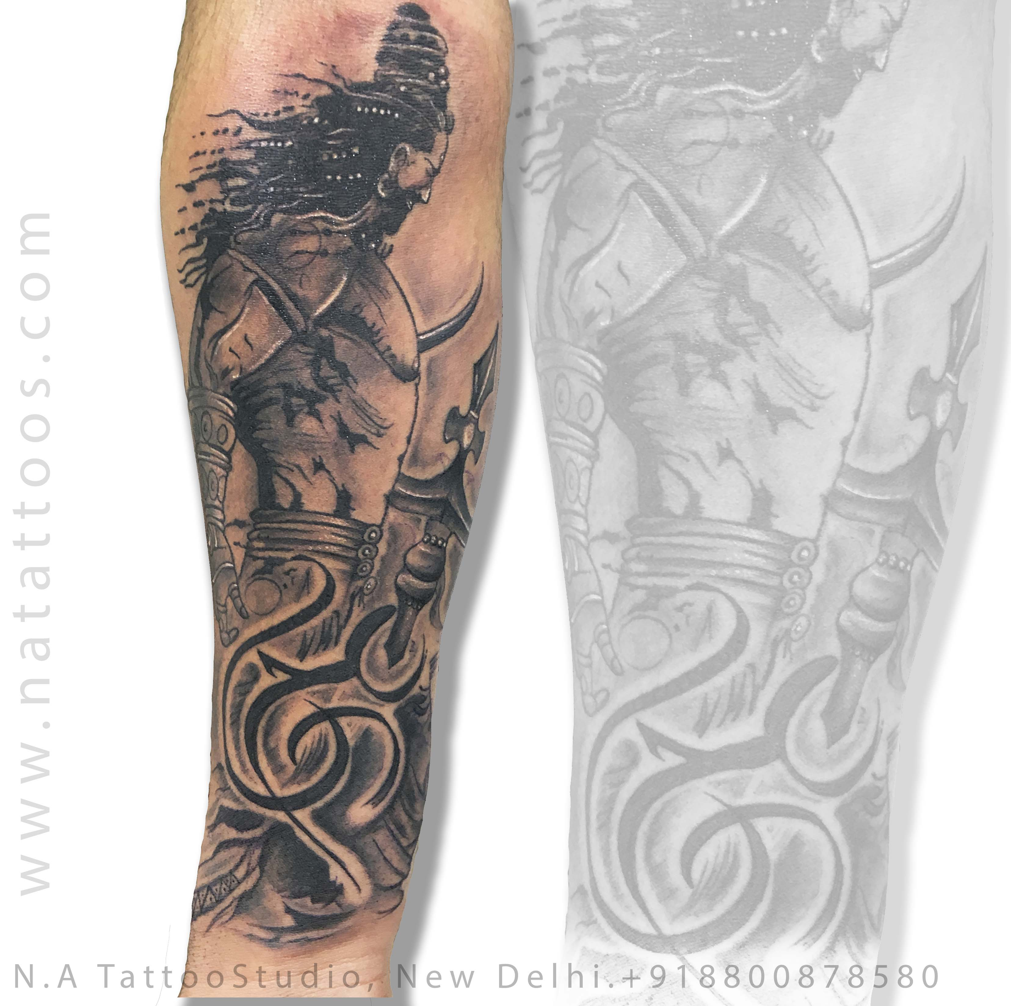 shiva with om tattoo