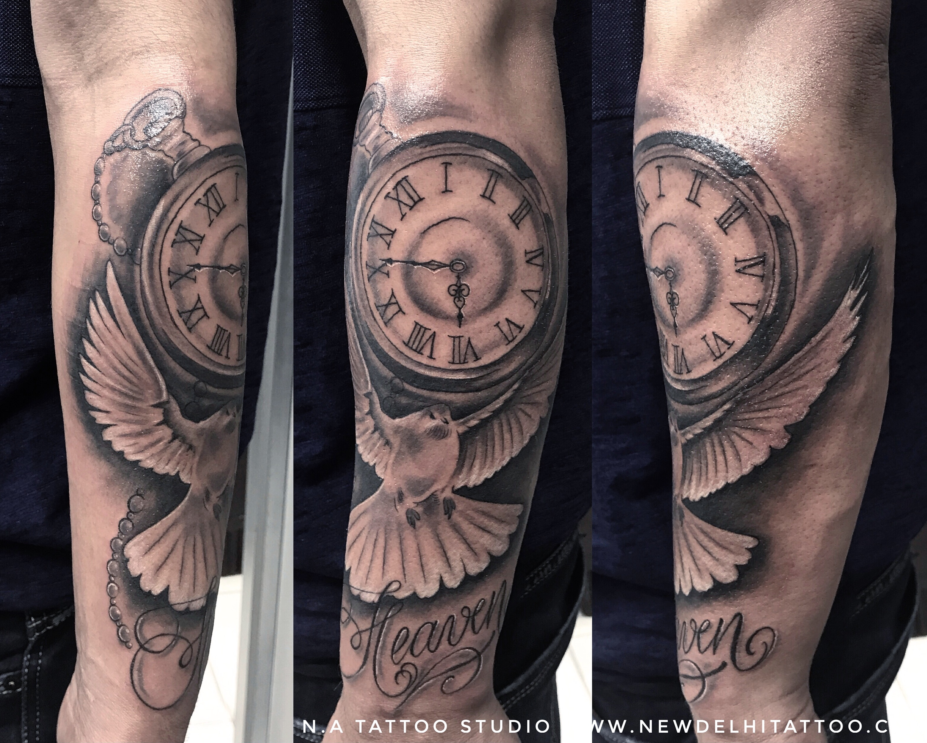 Clock Dove Heaven Tattoo