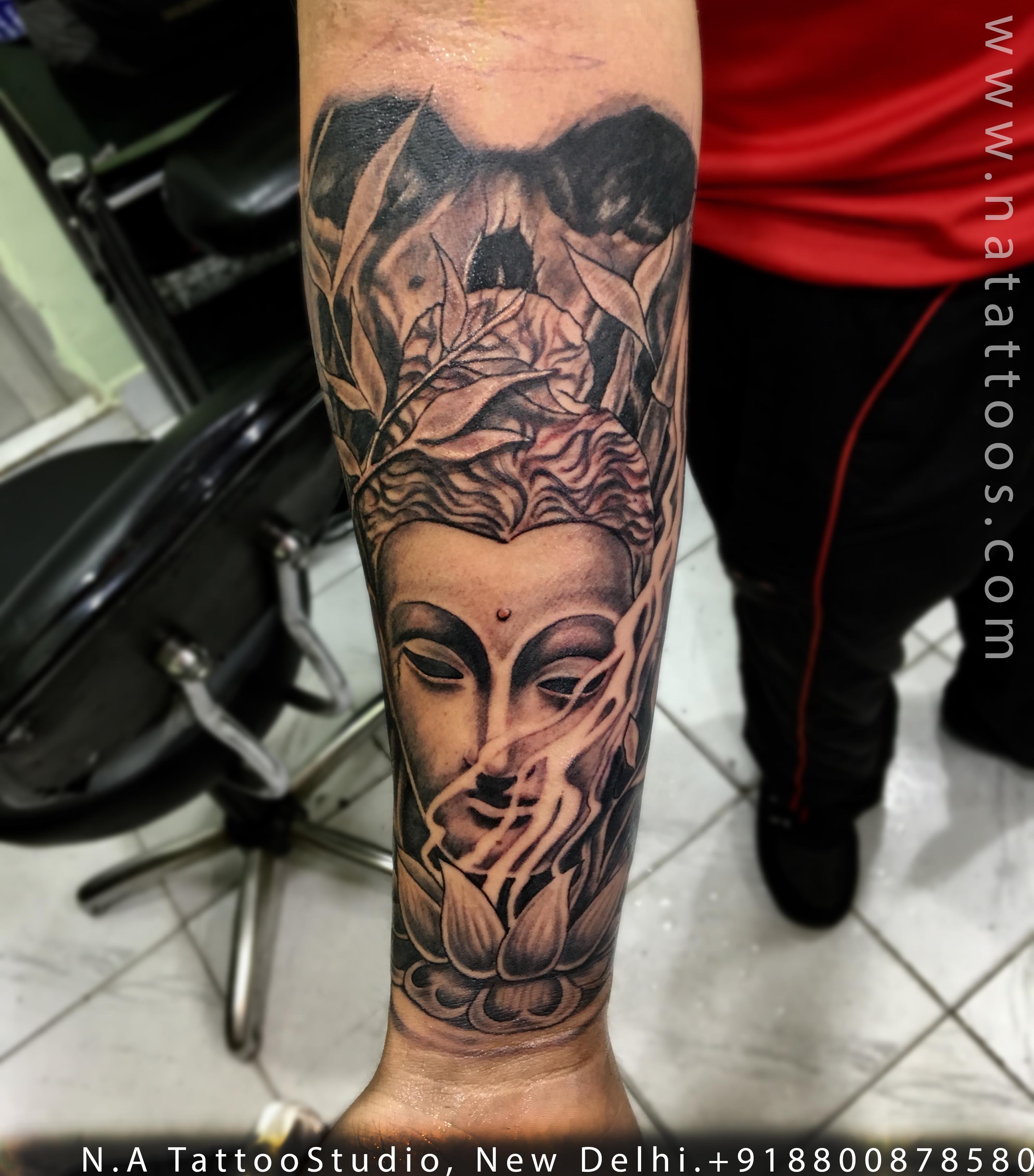 Skull Buddha Lotus Tattoo