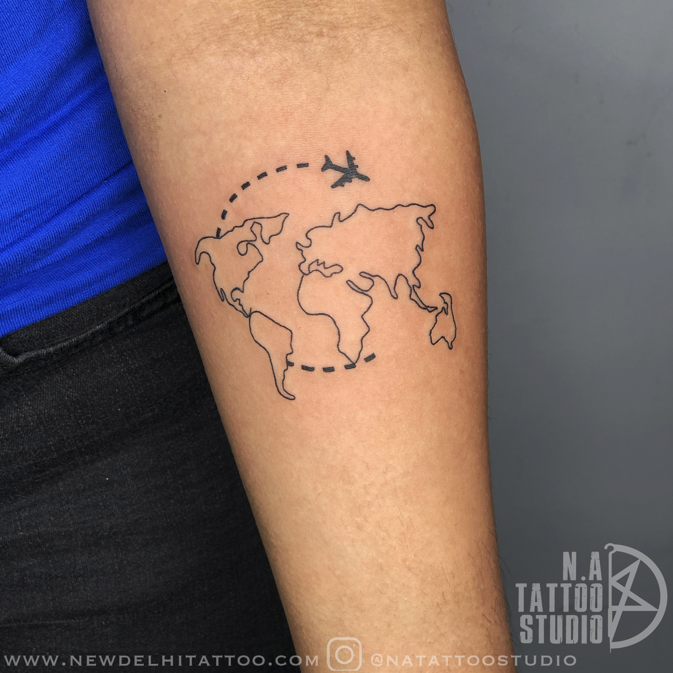 world map travel tattoos