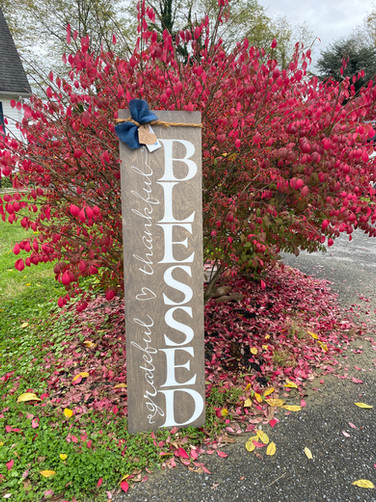 Grateful Thankful Blessed Porch Sign