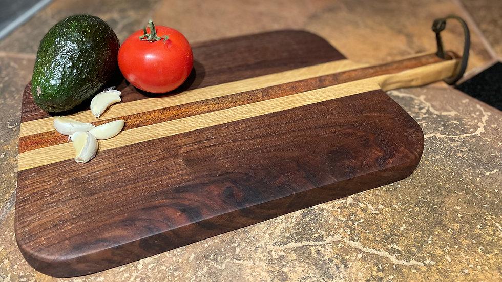 Bloodwood, Oak and Black Walnut Cutting Board w/ Handle