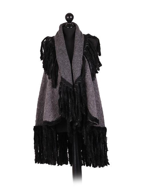Italian Fur  Tassel Woollen Gilet
