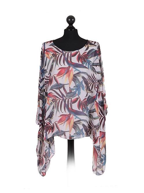 Italian Leaf Print Batwing Tunic Silk Top