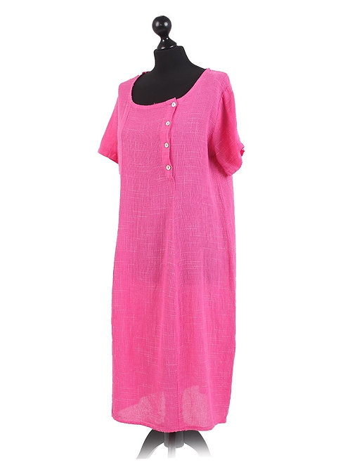 Italian Plain Side Buttons Neck Cotton Lagenlook Dress