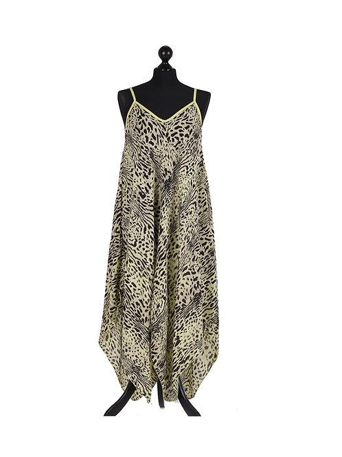 Italian Leopard Print Strappy Lagenlook Dress