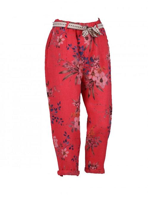 Italian Floral Linen Trouser