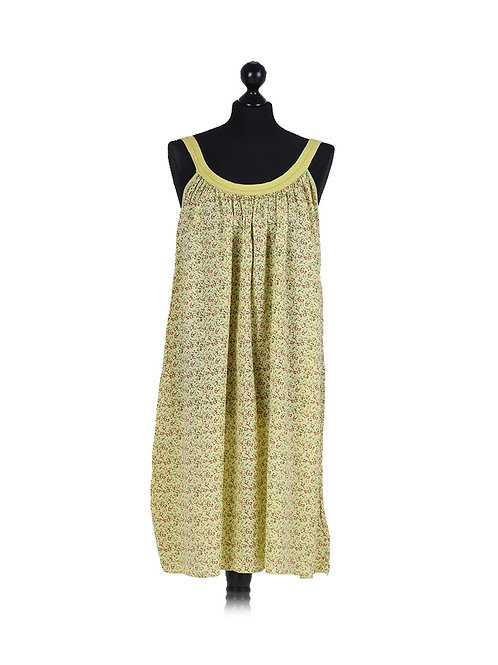 Italian Alyssum Print Strappy Cotton Lagenlook Dress