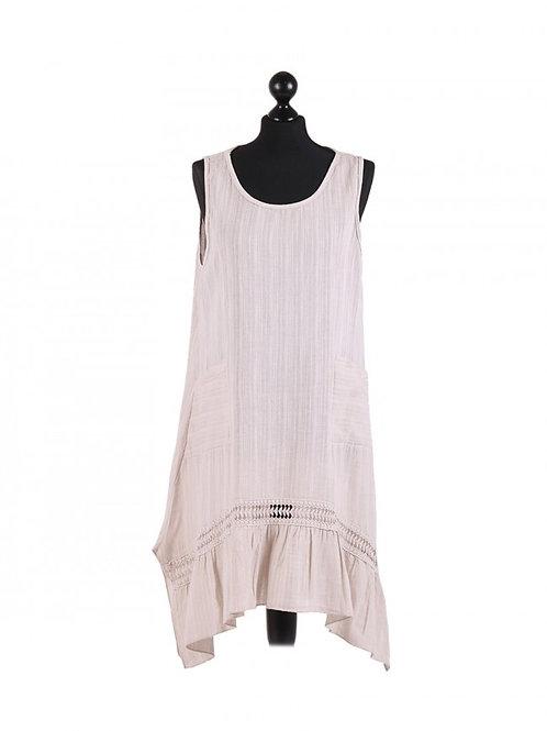 Italian Plain Front Pocket Sleeveless Linen Lagenlook Dress