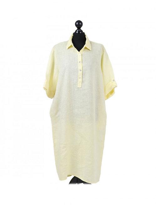 Italian Plain Front Buttons Linen Lagenlook Dress