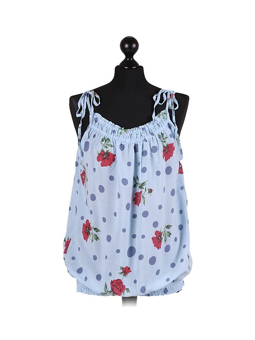 Italian Floral and Polka Dot Print Lagenlook Cami Vest