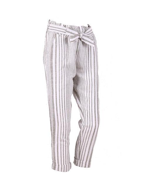 Italian Stripy Print Belted Linen Summer Trouser