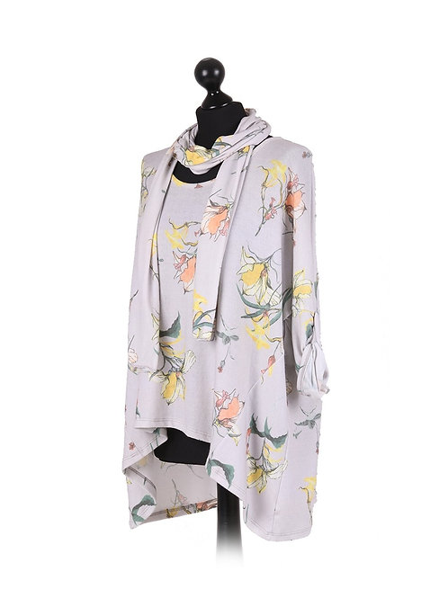 Italian Floral Print High Low Lagenlook Tunic Top