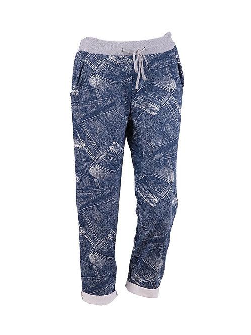 Italian Denim Jeans Print Cotton Trouser