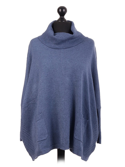 Italian Oversized Knitted Cowl Neck Batwing Jumper
