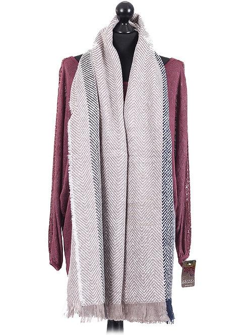 Italian Wool Mix Zig Zag Pattern Oblong Scarg