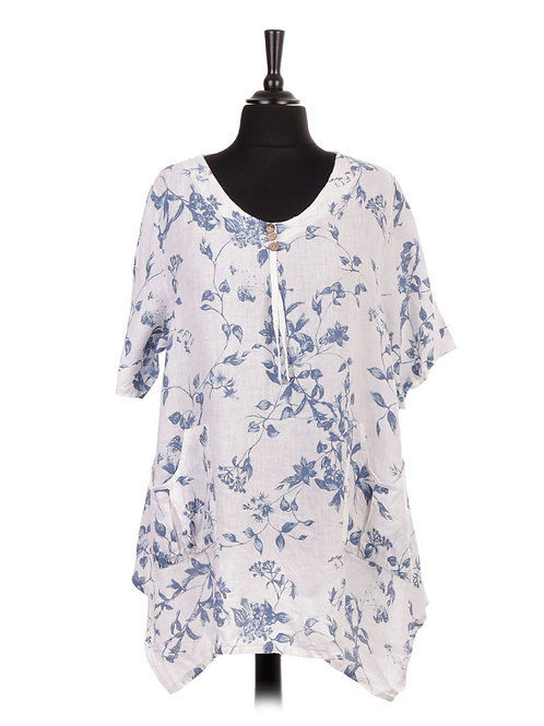 Italian Floral Linen Tunic Top With Front Pockets