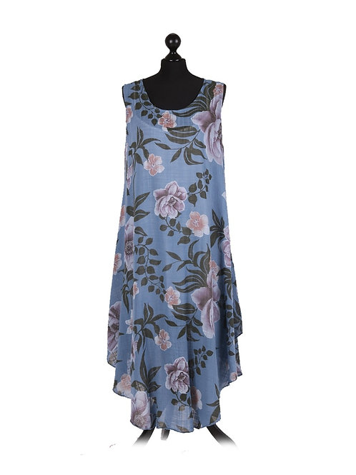 Italian Floral Print Lagenlook Sleeveless Cotton Dress